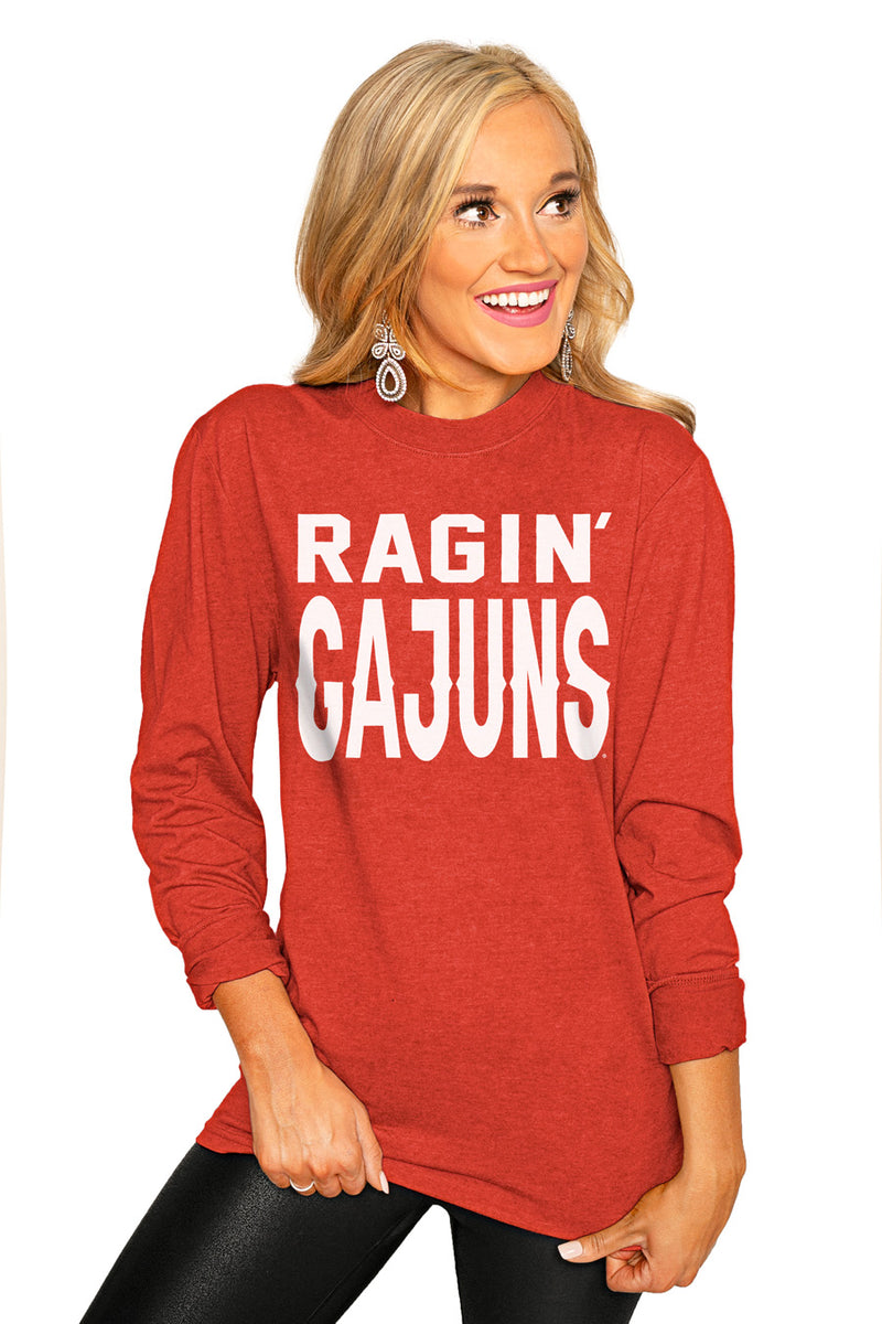 "Lafayette Ragin Cajuns ""Go For It"" Luxe Boyfriend Crew Tee - Gameday Couture"