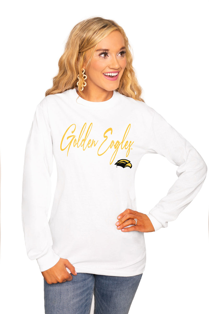 "SOUTHERN MISS GOLDEN EAGLES ""WIN THE DAY"" Luxe Boyfriend Crew Tee - Gameday Couture"