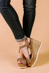 "The ""Walking On Sunshine"" Ankle Strap Wedges in Leopard - Gameday Couture"