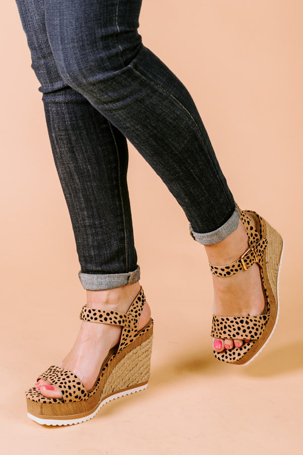 "The ""Walking On Sunshine"" Ankle Strap Wedges in Leopard"