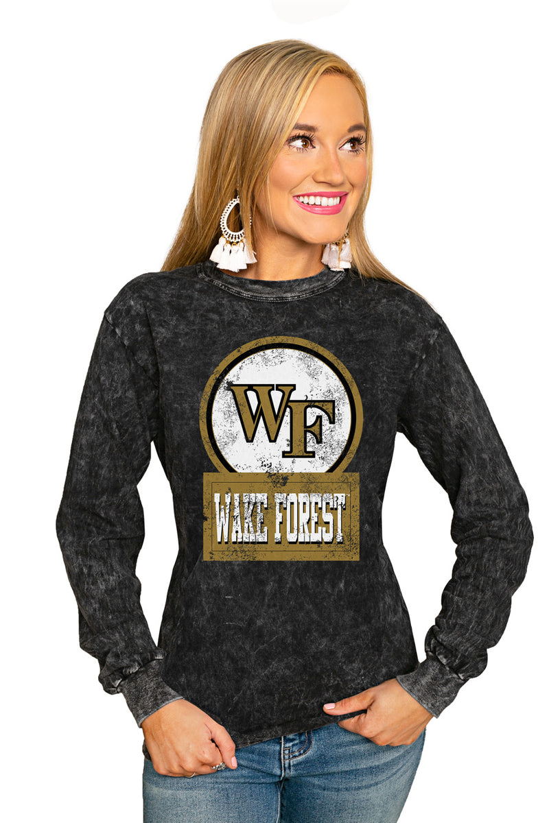 "WAKE FOREST DEMON DEACONS ""GOOD VIBES"" RETRO MINERAL WASH CREW - Gameday Couture"