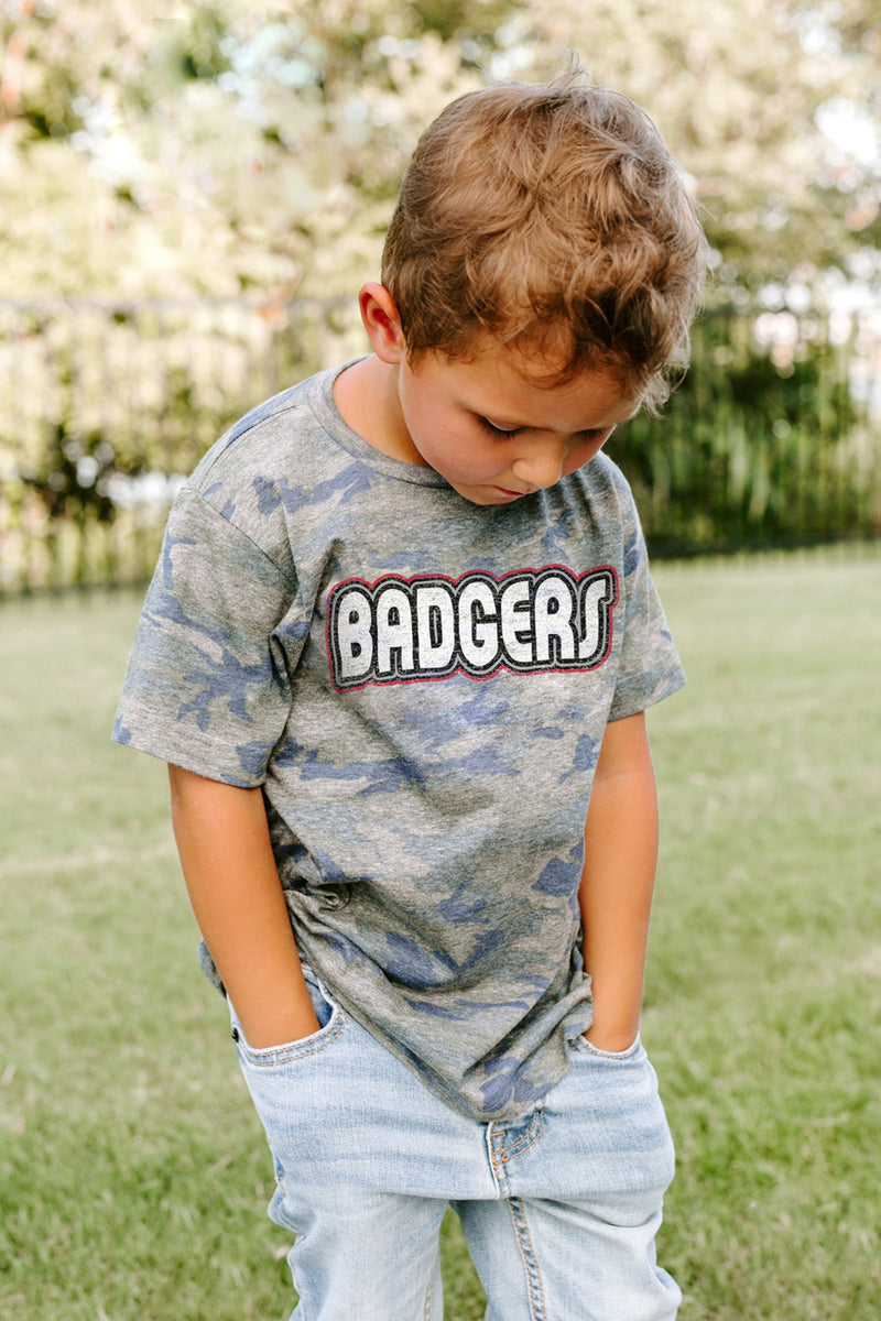 "Wisconsin Badgers ""It's a Win"" Camo Youth Tee - Gameday Couture"