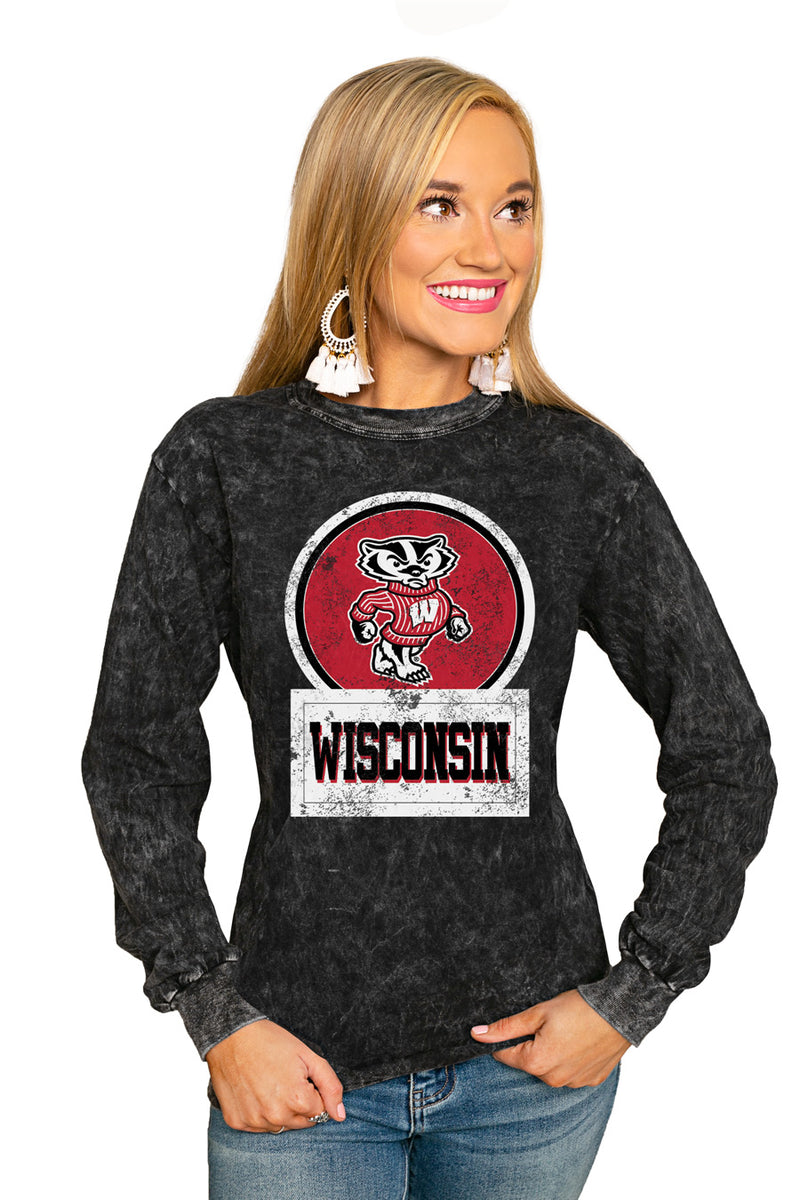"WISCONSIN BADGERS ""GOOD VIBES"" RETRO MINERAL WASH CREW - Gameday Couture"