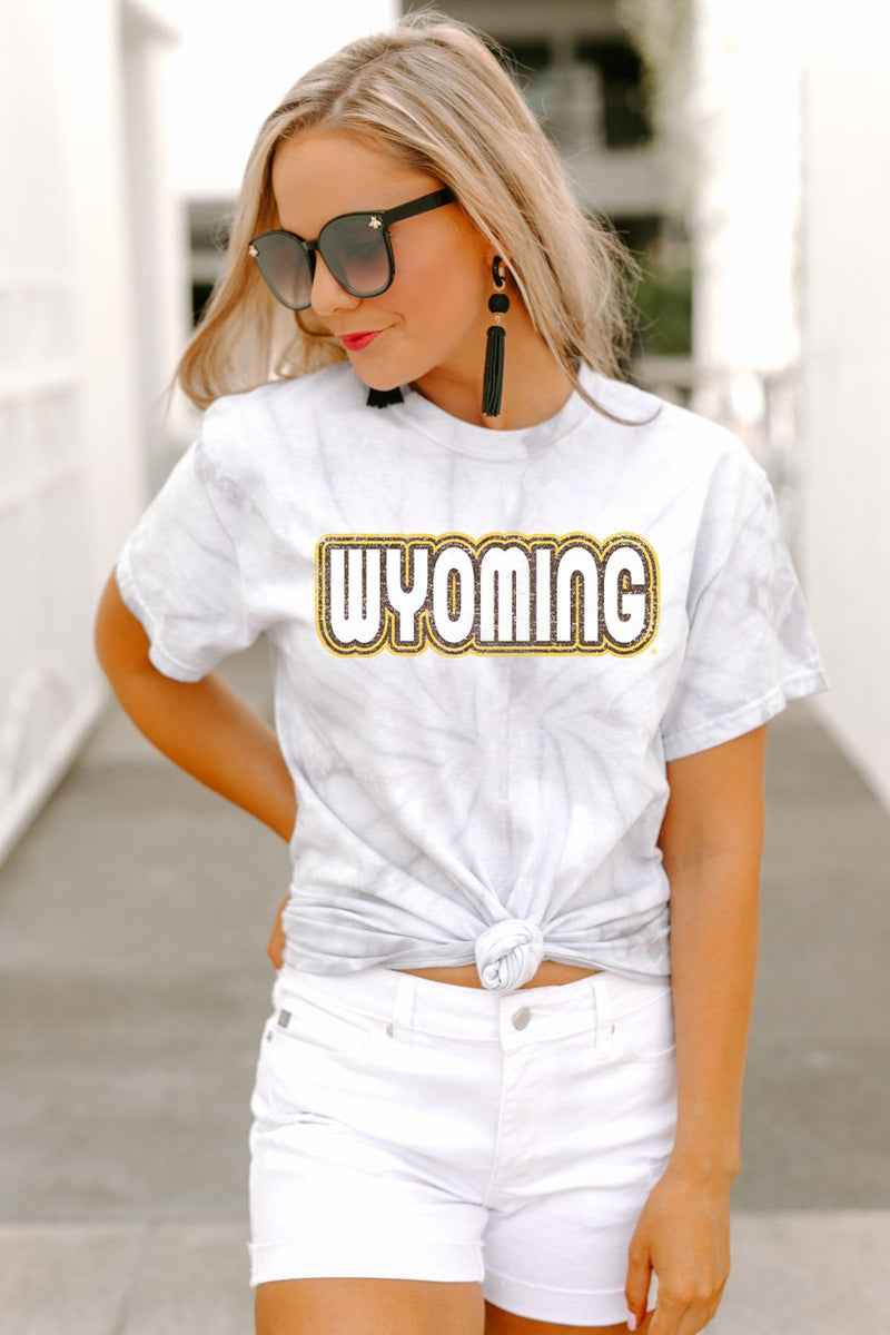 "Wyoming Cowboys ""It's a Win"" Watercolor Spin Dye Top - Gameday Couture"