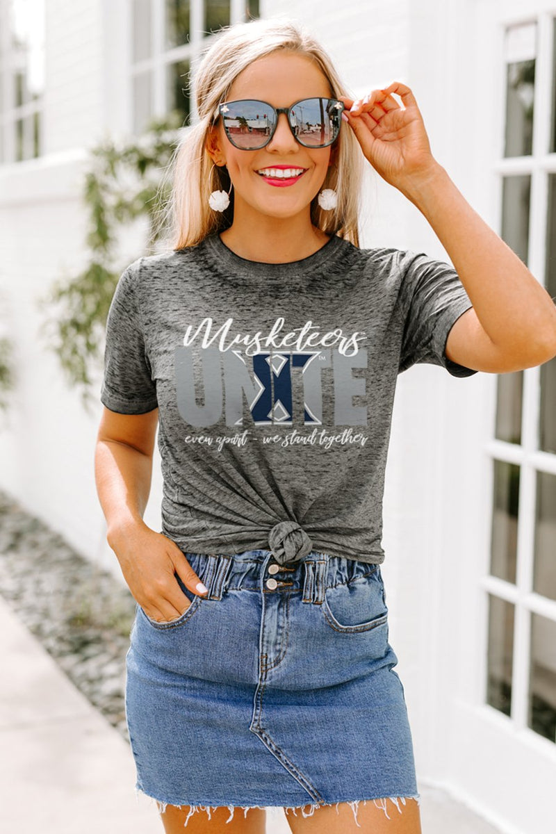 "Xavier University Muskateers ""Rising Together"" Boyfriend Top - Gameday Couture"