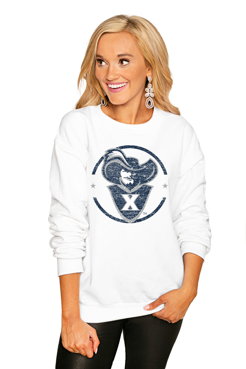 "Xavier Musketeers ""End Zone"" Perfect Cozy Crew Sweatshirt - Gameday Couture"