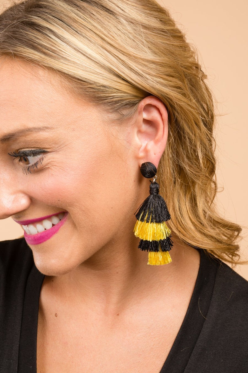 The We've Got Spirit Earrings in Gold and Black