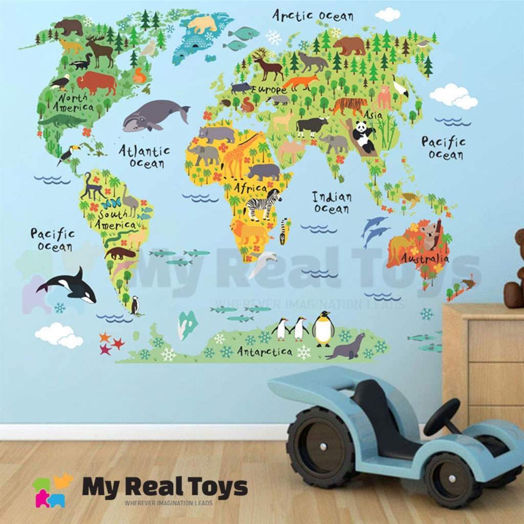 Animal Continents World Map Sticker My Real Toys