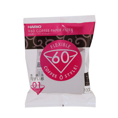 Hario V60 Paper Filters S01 (White) Pack 100
