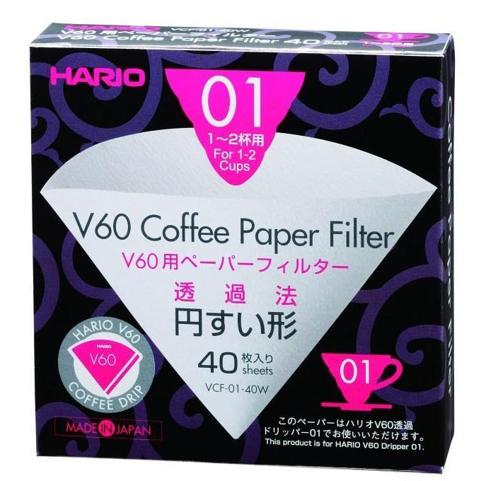 Hario V60 Paper Filters (S01) Bleached 40 sheets