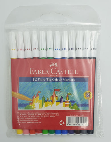 Faber Castell Fibre-Tip Pen Wallet of 12 Assorted