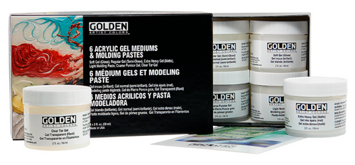 GOLDEN 6 Acrylic Gel Mediums and Molding Paste Set