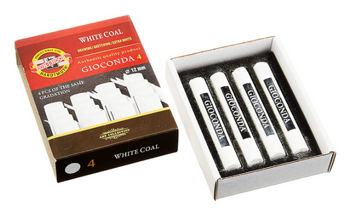 Koh-I-Noor Giaconda White Coal Assorted Grades 4pc