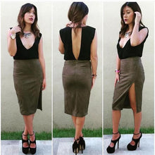 Olive Faux Suede Slit Pencil Skirt
