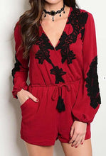 Berry with Black Details Romper