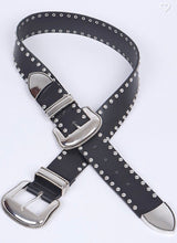 Black Studded Double Buckle Belt