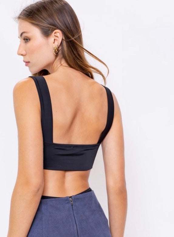 Open Back Bodysuit, Black