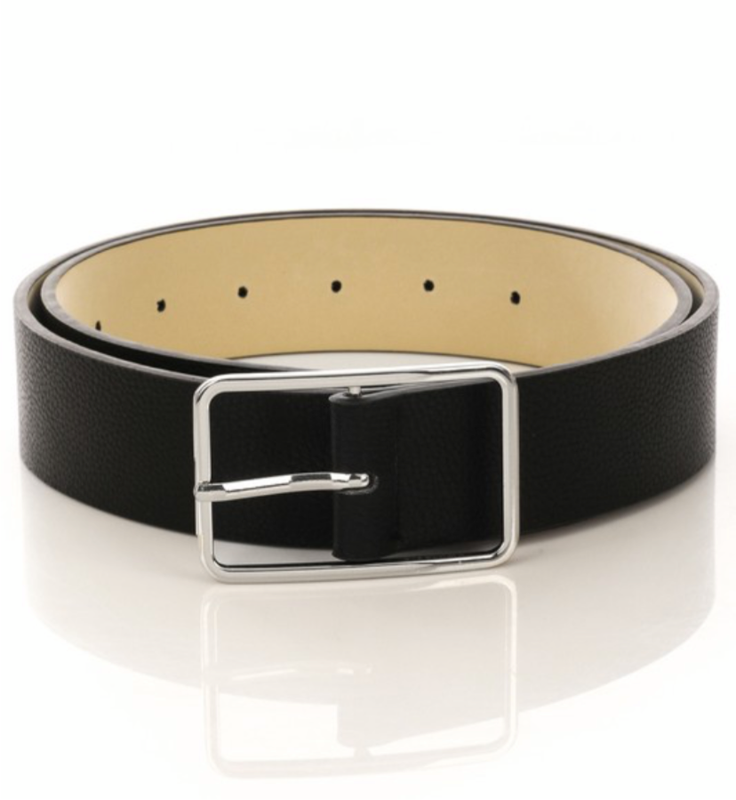 Faux Leather Rectangle Buckle Belt