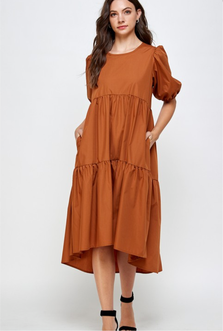 Rust, Puff Sleeve Tie Back Dress