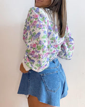 Floral Print Button Down Puff Sleeve Top
