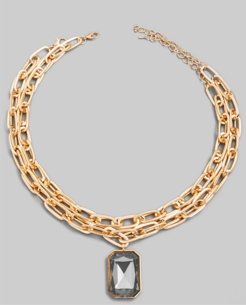 Multi Chain Rectangle Crystal Pendant Necklace