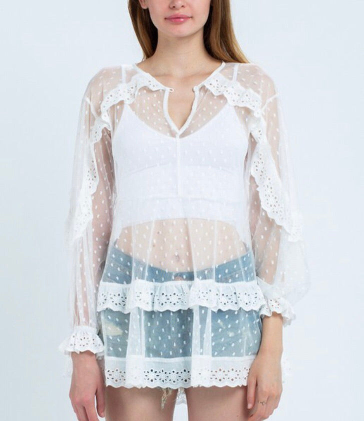White See-Through (Top/Cover Up/Mini Dress)