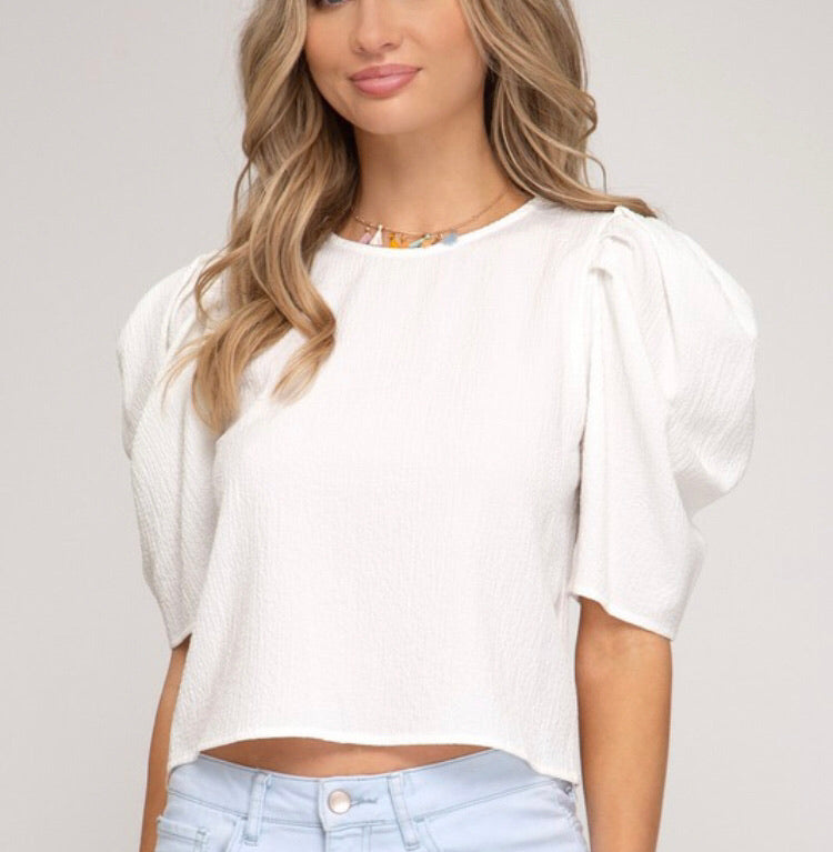 Off White Puff Sleeve Textured Top