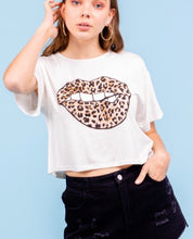 "Off White Leopard Print ""mouth tshirt"""