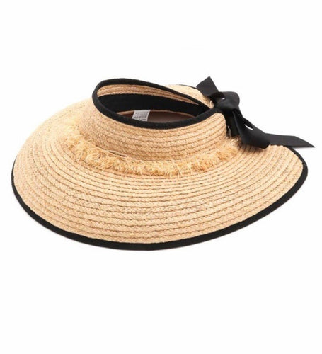 Straw Open Hat (natural w black ribon)
