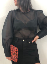 Organza Black Long Sleeve Top