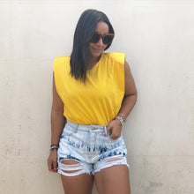 Golden Sleeveless Shoulder Pad Oversized T Shirt