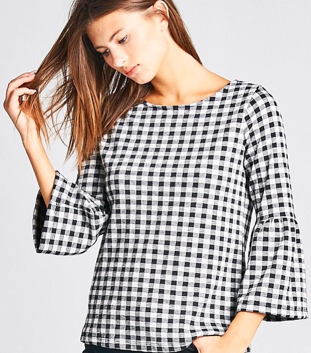 Gingham Flared Sleeve Top