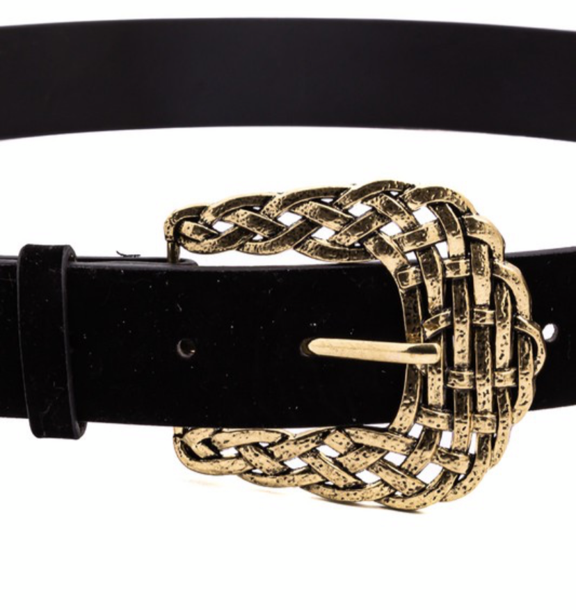Faux Leather Weave Texture Buckle Belt