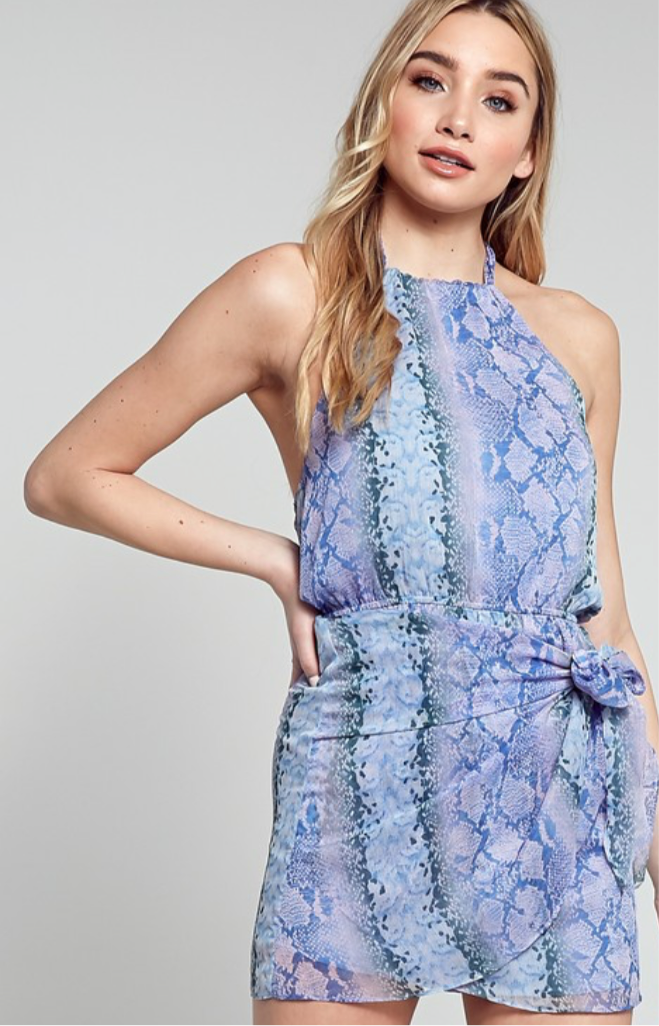 Snake Print Halter Neck Dress