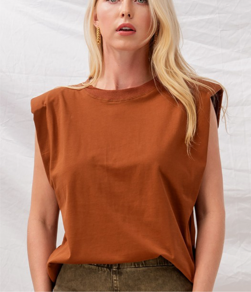 Rust Padded Shoulder Tee