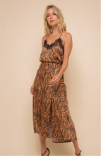 Tiger Print Copper-Black Midi Skirt
