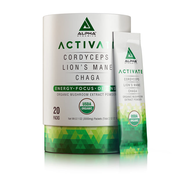ACTIVATE - Organic Mushroom Blend of Cordyceps, Lion's Mane & Chaga Extract - Alpha Dynamics