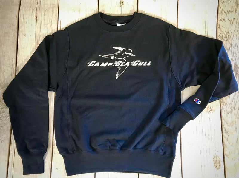 Camp Sea Gull Crew Sweatshirt-Adult Vintage Logo