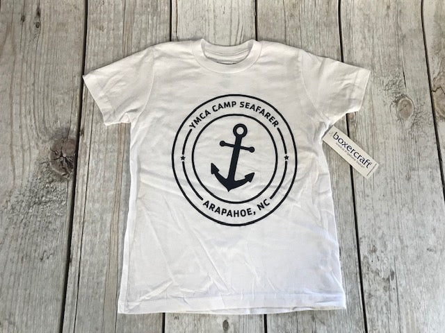 Camp Seafarer Crew T-Shirt Navy Logo-Youth