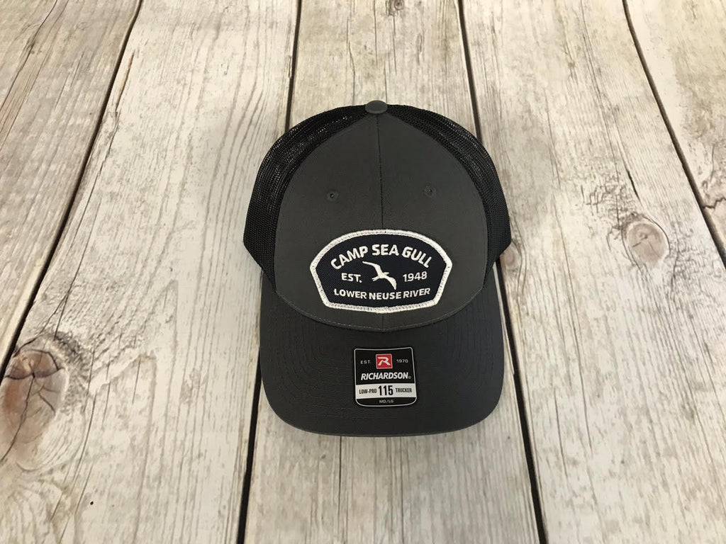 Camp Sea Gull Black Trucker Hat with Patch