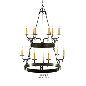Other Metal Chandelier - 9315-12-2Chandelier - Graham's Lighting Memphis, TN
