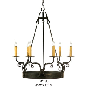 Other Metals Chandelier - 9315-6Chandelier - Graham's Lighting Memphis, TN