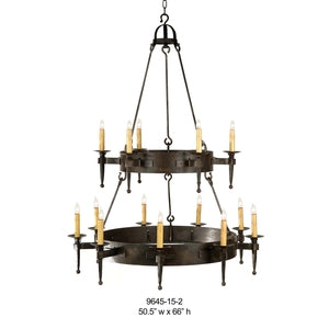 Other Metal Chandelier - 9645-15-2Chandelier - Graham's Lighting Memphis, TN