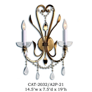Crystal Sconce - CAT-2032/A2P-21Sconce - Graham's Lighting Memphis, TN