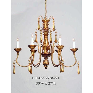 Wood Chandelier - CIE-0292/S6-21Chandelier - Graham's Lighting Memphis, TN