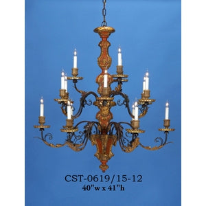 Wood Chandelier - CST-0619/15-12Chandelier - Graham's Lighting Memphis, TN