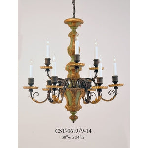Wood Chandelier - CST-0619/9-14Chandelier - Graham's Lighting Memphis, TN