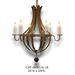 Wood Chandelier - CST-0680/6-18Chandelier - Graham's Lighting Memphis, TN