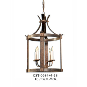 Wood Lantern and Pendant - CST-0684/4-18Pendant - Graham's Lighting Memphis, TN
