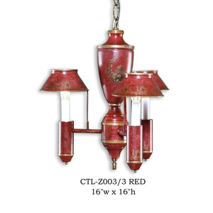 Other Metal Chandelier - CTL-Z003/3 REDChandelier - Graham's Lighting Memphis, TN